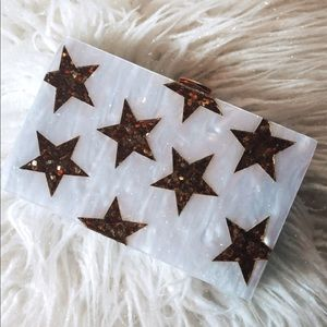Acrylic Gold Star and Pearly White Handbag/Clutch